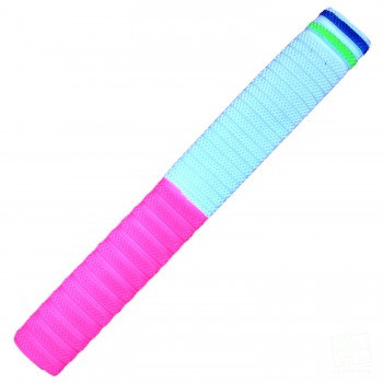 Pink and White with Yellow and Blue Dynamite Cricket Bat Grip