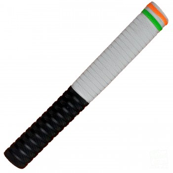 Black and White with Orange and Lime Dynamite Cricket Bat Grip