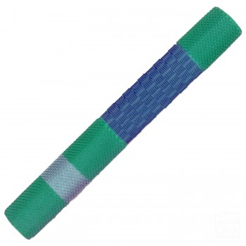 Navy Blue / Green / Silver Duo Cricket Bat Grip
