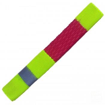 Red / Neon Yellow / Silver Duo Cricket Bat Grip