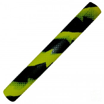 Neon Yellow and Black Scale Splash-Spiral Cricket Bat Grip