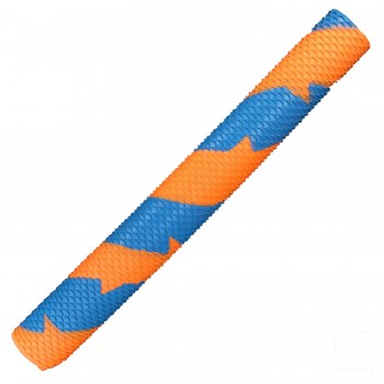Sky Blue and Orange Scale Splash-Spiral Cricket Bat Grip