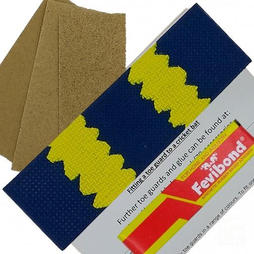 Blue / Yellow Cricket Bat Toe Guard Kit