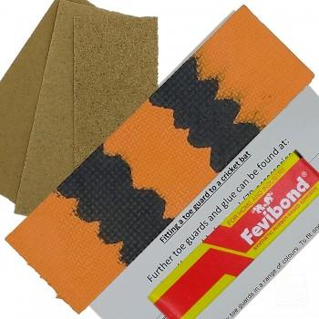 Orange / Black  Cricket Bat Toe Guard Kit