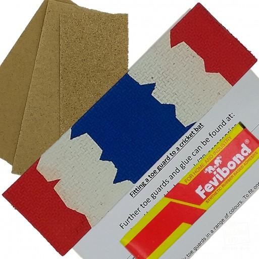 Red / White / Blue Cricket Bat Toe Guard Kit