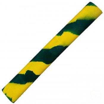 Dark Green and Yellow Chevron Splash-Spiral Cricket Bat Grip