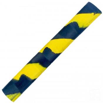 Navy Blue and Yellow Chevron Splash-Spiral Cricket Bat Grip