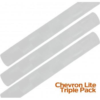 White Chevron Lite Cricket Bat Grip Triple Pack
