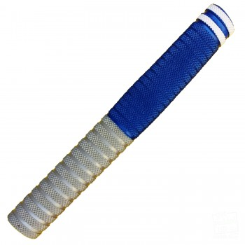 Silver and Royal Blue with White Dynamite Cricket Bat Grip