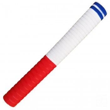 Red and White with Royal Blue Dynamite Cricket Bat Grip