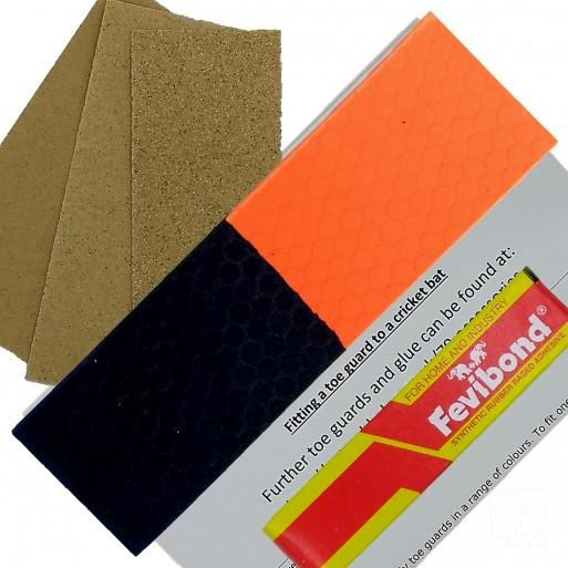 Half-n-Half  Orange and Black Cricket Bat Toe Guard Kit